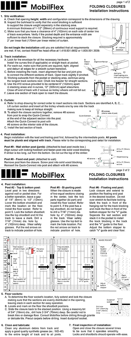 MobilFlex inc. - Installation<br /><b>instructions</b>