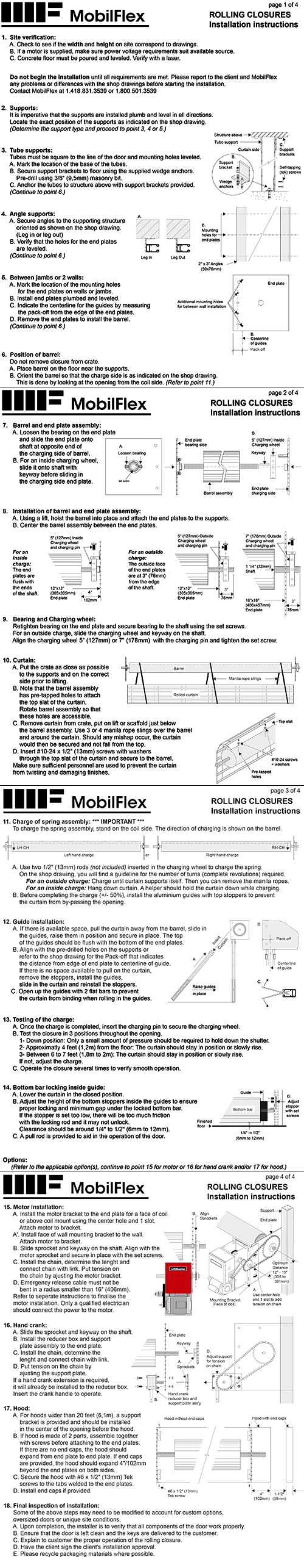 MobilFlex inc. - Installation instructions